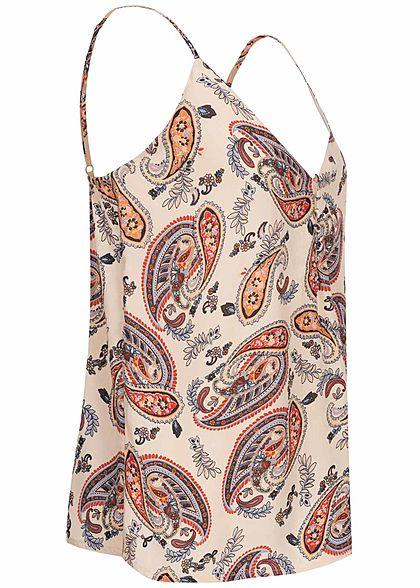 Hailys Damen V-Neck Top Krepp Stoff Knopfleiste Paisley Muster beige