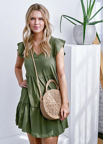 Hailys Damen V-Neck Puffer Kleid khaki grün