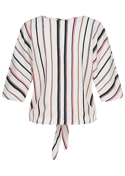 Hailys Damen 1/2-Arm V-Neck Bluse Bindedetail vorne Streifen Muster off weiss rosa