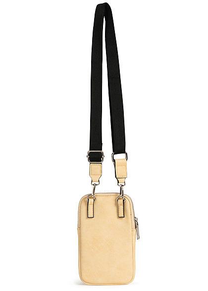 Zabaione Damen Mini Kunstleder Handtasche 20x12cm 2-Pockets gelb