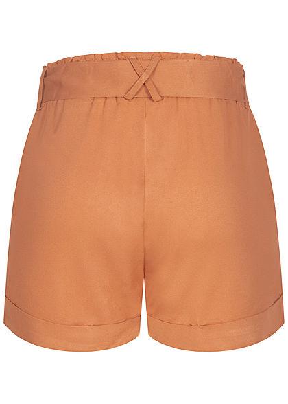 Hailys Damen Shorts 2-Pockets inkl. Bindegürtel Beinumschlag hazel braun