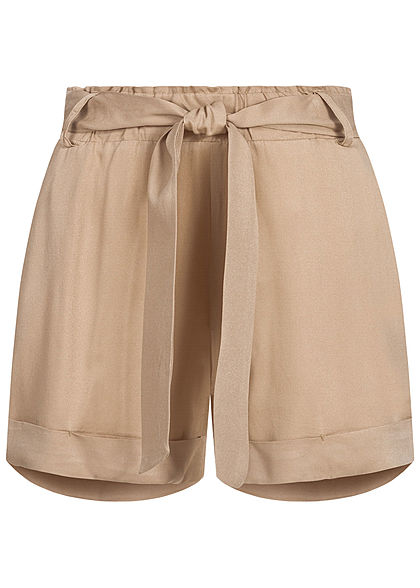 Hailys Damen Shorts 2-Pockets inkl. Bindegürtel Beinumschlag beige