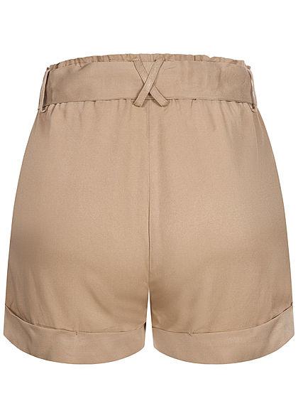 Hailys Damen Shorts 2-Pockets inkl. Bindegürtel Beinumschlag beige