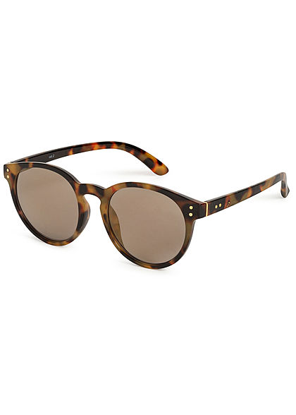 Hailys Damen Ovale Sonnenbrille Leo Print UV-400 Cat.2 beige braun