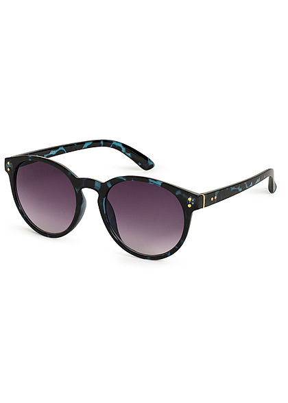Hailys Damen Ovale Sonnenbrille Leo Print UV-400 Cat.2 schwarz blau
