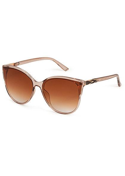 Hailys Damen Cat Eye Sonnenbrille Detail am Bügel UV-400 Cat.3 nude beige