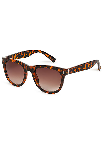 Hailys Damen kleine Cat Eye Sonnenbrille UV-400 Cat.3 Leo Print braun schwarz