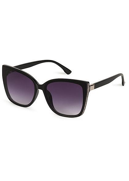 Hailys Damen große Cat Eye Sonnenbrille UV-400 Cat.3 Glitzer Panel seiltich schwarz