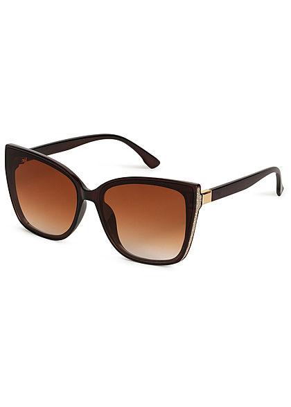 Hailys Damen große Cat Eye Sonnenbrille UV-400 Cat.3 Glitzer Panel seiltich braun