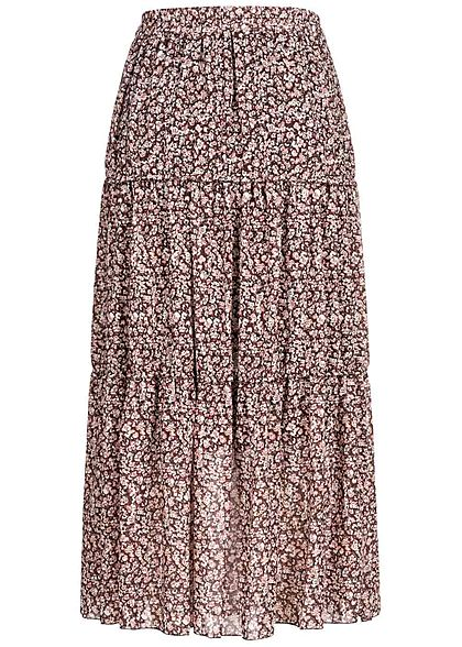 Zabaione Damen Longform Rock 2-lagig Blumen Muster rosa weiss braun