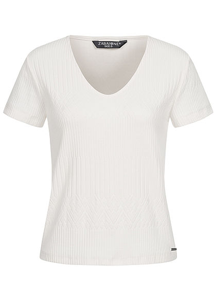 Zabaione Damen V-Neck T-Shirt Struktur Stoff off weiss