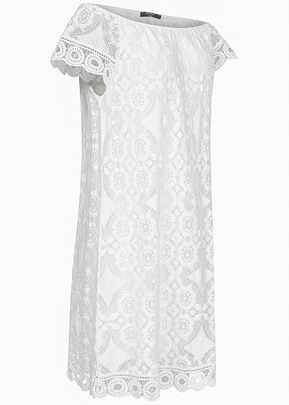 Zabaione Damen Off Shoulder Kleid Allover Spitze 2-lagig weiss