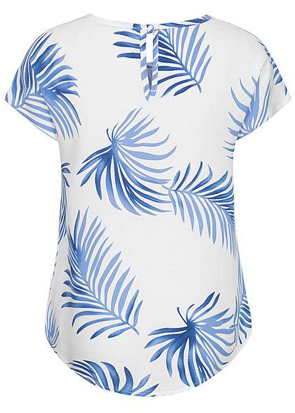 Hailys Kids Mädchen Viskose T-Shirt Vokuhila Tropical Print weiss blau