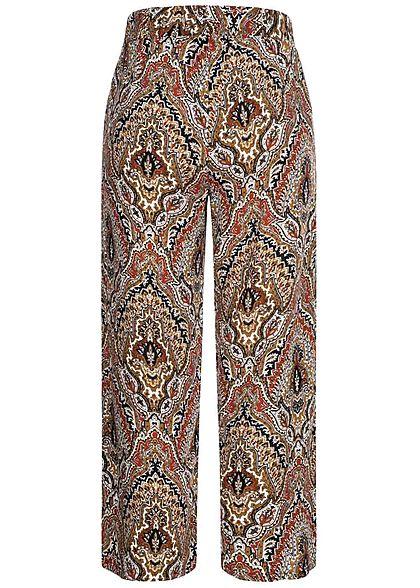 Hailys Damen leichte Culotte Sommerhose Bindedetail vorne Paisley Print beige multicolor