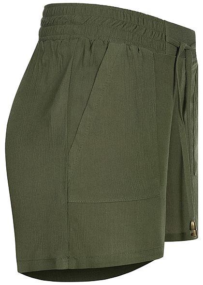 Hailys Damen leichte Sommer Krepp Shorts 2-Pockets Deko Tunnelzug khaki grün