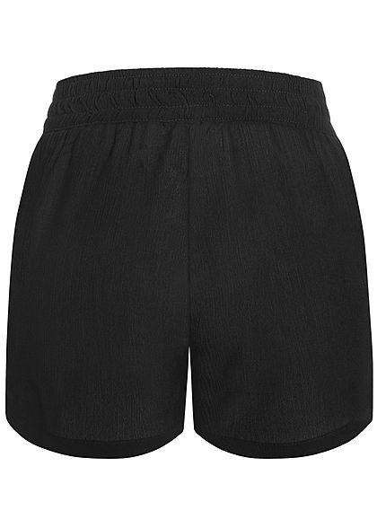 Hailys Damen leichte Sommer Krepp Shorts 2-Pockets Deko Tunnelzug schwarz