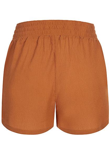 Hailys Damen leichte Sommer Krepp Shorts 2-Pockets Deko Tunnelzug hazel braun