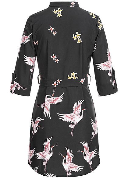 Fresh Lemons Damen 1/2-Arm V-Neck Mini Kleid Bindegürtel Vogel Blumen Print schwarz