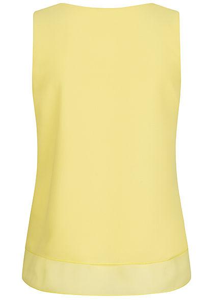 Fresh Lemons Damen V-Neck Chiffon Top 2-lagig citro gelb