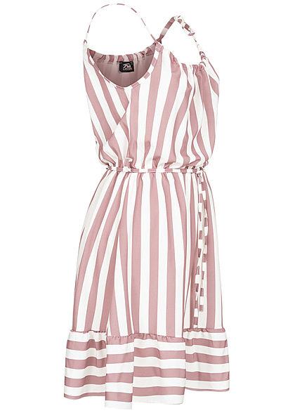 Fresh Lemons Damen Mini Kleid inkl. Bindegürtel Streifen Muster weiss rosa