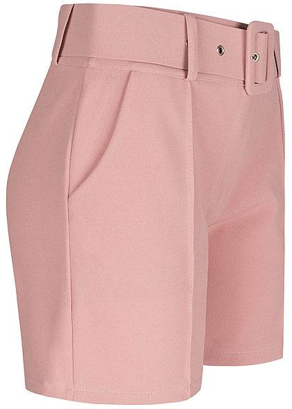 Fresh Lemons Damen High-Waist Shorts inkl. breiter Gürtel 2-Pockets old rose