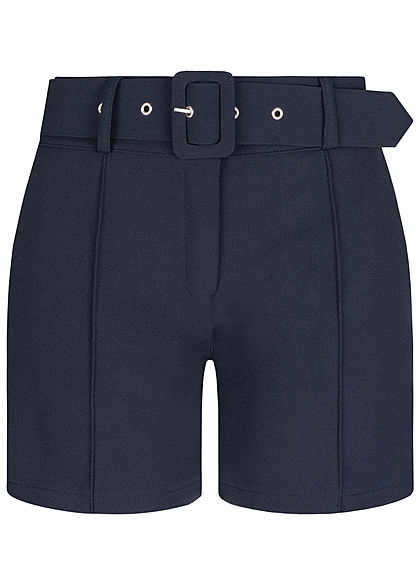 Fresh Lemons Damen High-Waist Shorts inkl. breiter Gürtel 2-Pockets navy blau