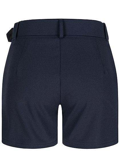 Fresh Lemons Damen High-Waist Shorts inkl. breiter Gürtel 2-Pockets navy blau