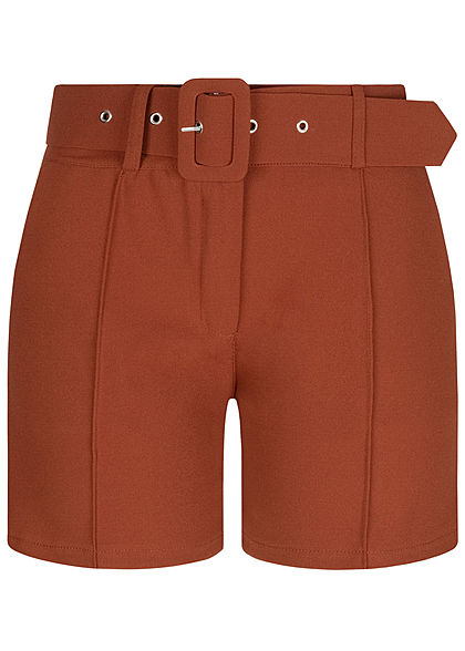 Fresh Lemons Damen High-Waist Shorts inkl. breiter Gürtel 2-Pockets copper braun