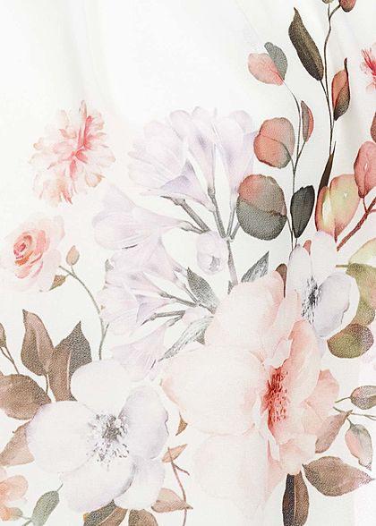 Fresh Lemons Damen Chiffon Blusen Top Blumen Muster weiss