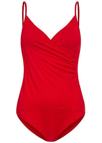 Fresh Lemons Damen V-Neck Träger Top Body inkl. Brustpad Wickeloptik rot