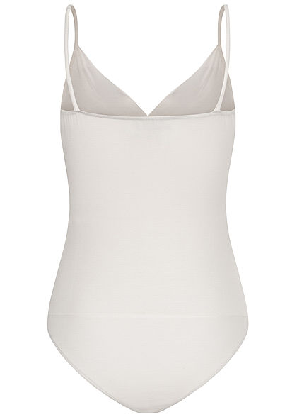 Fresh Lemons Damen V-Neck Träger Top Body inkl. Brustpad Wickeloptik weiss