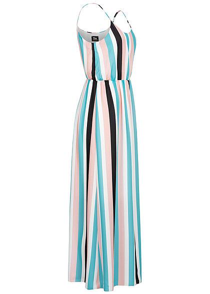 Fresh Lemons Damen Maxi Kleid Krepp Stoff Streifen Muster Taillen Gummizug multicolor