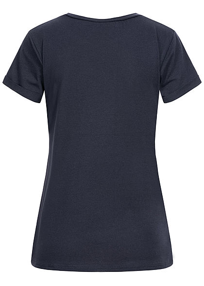 Fresh Lemons Damen T-Shirt Anker Hope Print navy blau weiss