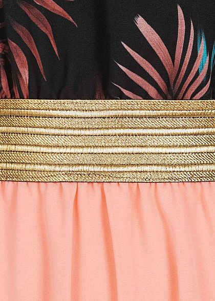 Fresh Lemons Damen 2-Tone Maxi Kleid Tropical Print schwarz rosa gold