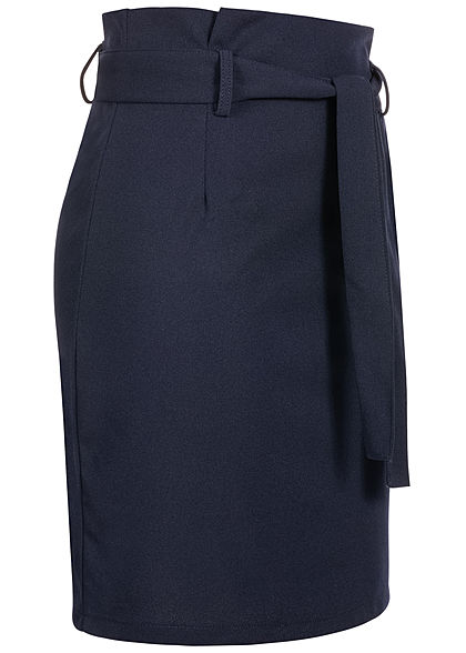 Fresh Lemons Damen High-Waist Paperbag Rock inkl. Bindegürtel navy blau