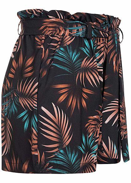 Fresh Lemons Damen Paperbag Shorts inkl. Bindegürtel Tropical Print schwarz