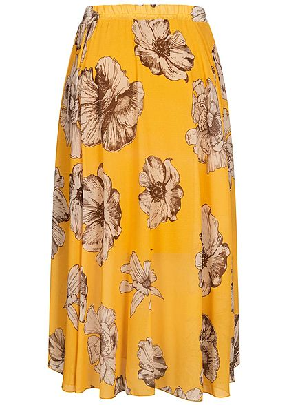Fresh Lemons Damen Longform Rock 2-lagig Blumen Muster gelb beige braun