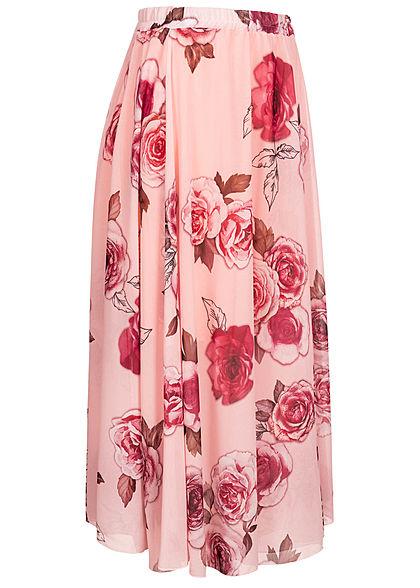 Fresh Lemons Damen Longform Rock 2-lagig Blumen Muster rosa pink