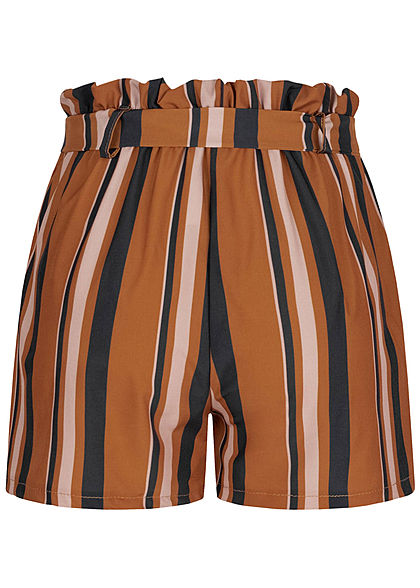 Fresh Lemons Damen High-Waist Paperbag Shorts inkl. Gürtel Streifen Muster braun
