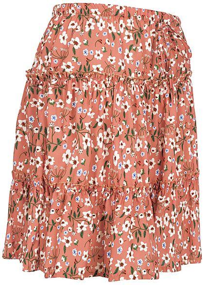 Fresh Lemons Damen Mini Stufenrock Deko Schleife vorne Blumen Muster old rosa