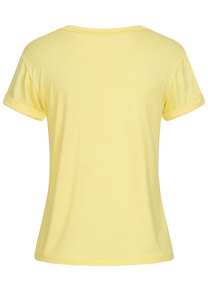 Fresh Tee Damen T-Shirt Cat-Pocket Print gelb