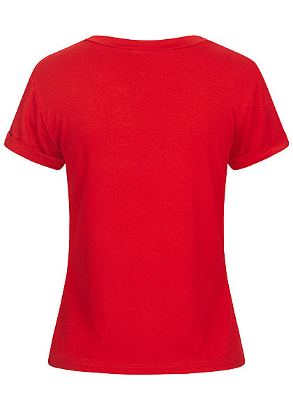 Fresh Tee Damen T-Shirt Cat-Pocket Print rot