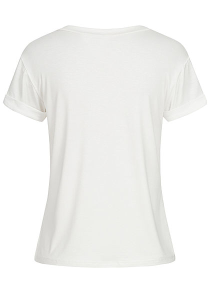 Fresh Tee Damen T-Shirt Frenchie Dog Print weiss