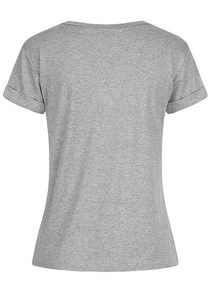 Fresh Tee Damen T-Shirt Bandana Hunde Print grau rot melange