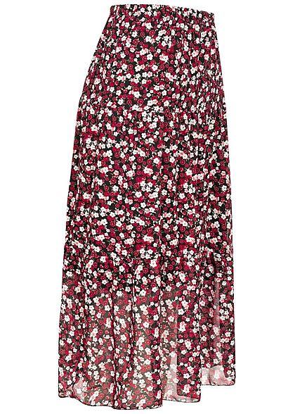 Fresh Lemons Damen Longform Rock 2-lagig Blumen Muster schwarz rosa weiss