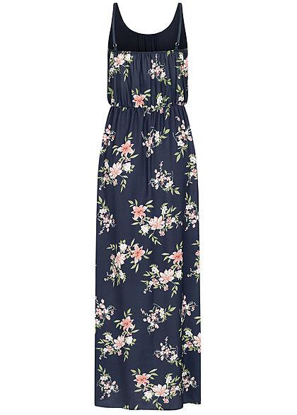 Fresh Lemons Damen Maxi Kleid Taillengummibund 2-lagig Blumen Muster navy blau
