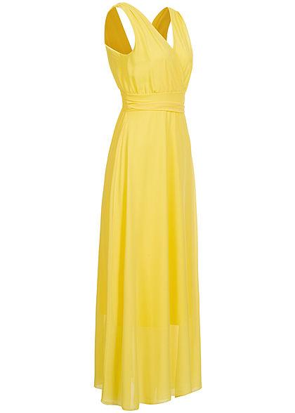 Fresh Lemons Damen V-Neck Maxi Kleid Wickeloptik 2-lagig hell gelb