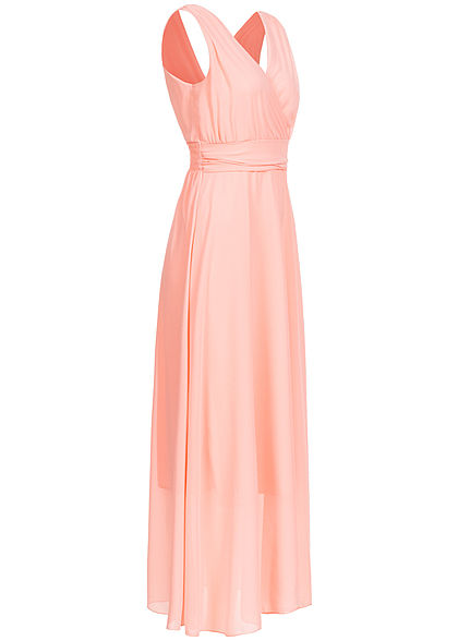 Fresh Lemons Damen V-Neck Maxi Kleid Wickeloptik 2-lagig rosa