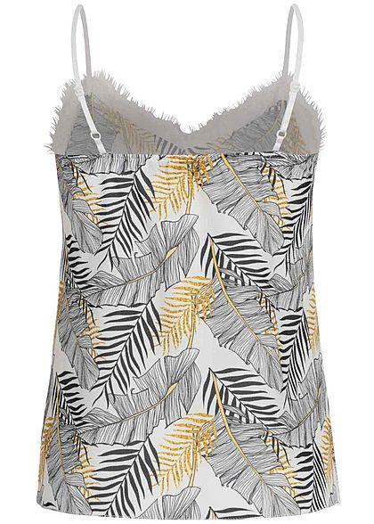 Fresh Lemons Damen V-Neck Träger Top mit Spitze Floraler Print weiss schwarz gold