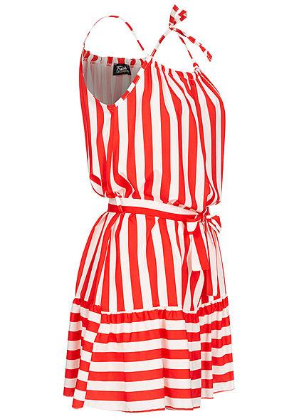 Fresh Lemons Damen Kleid inkl. Bindegürtel Streifen Muster rot weiss